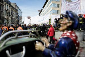 firefighter, protest, Liège, Belgium, 2014, April